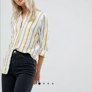 ASOS Design Soft Blouse In Yellow & Navy